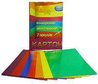 Цветной картон А4 двухсторонний 7 листов, Тетрада