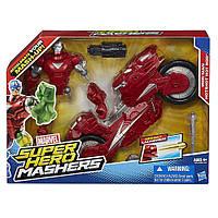 Набор Железный человек + мотоцикл (Машерс/шенковщики) - Iron Man Hot-Shot Hot Rod, Mashers, Marvel,Hasbro