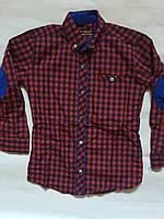 Рубашка приталенная в клеточку для мальчиков  6-14лет