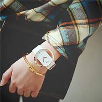 Прозрачные женские часы с кожаным браслетом