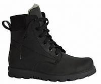 Ботинки мужские кожаные на шнуровке, черная кожа крейзи. 40 размер