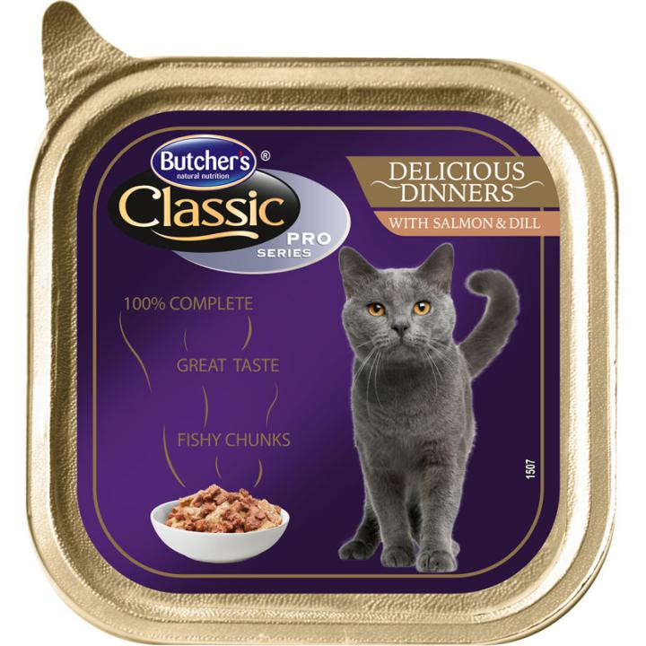 """Butcher's (Бутчерс) Cat Classic Pro консерва для котів, шматочки сьомги, """"Смачний обід"""", 100 р."""