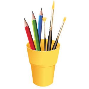 Карандаши, ручки, фломастеры, кисточки