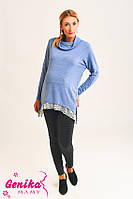 Разноуровневая туника для беременных голубая с кружевом