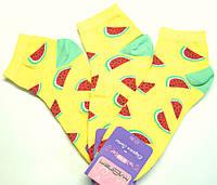 """Заниженные цветные женские носки в яркий рисунок """"арбуз"""" желтого цвета"""