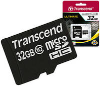 Карта памяти Transcend micro SDHC 32 Gb Class 10 +SD adapter