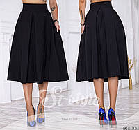 Женская юбка-колокол однотонная миди