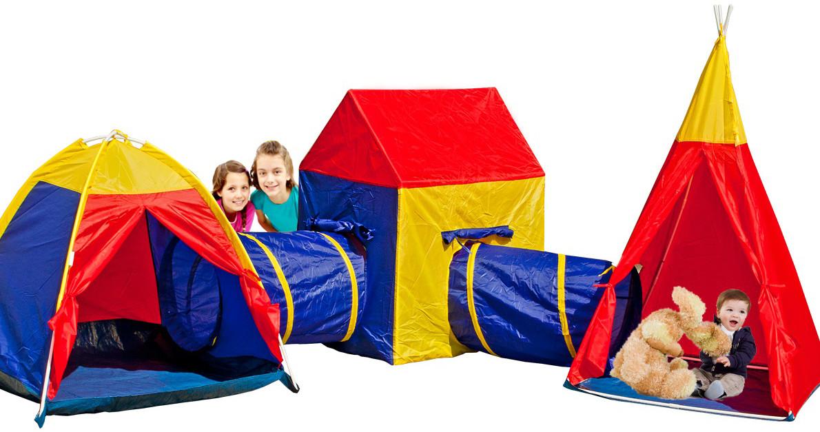 Детские игровые палатки 5 in 1 с тоннелем для детей домик вигвам палатка
