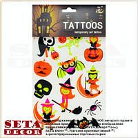 Временные яркие, цветные татуировки Летучая мышь на тело и лицо Halloween