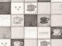 Обои на стену, чашки, на кухню, серые, виниловые,  B49.4 Калипсо 5525-10,супер мойка, 0,53*10м