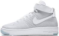 Женские кроссовки Nike Air Force 1 Ultra Flyknit Mid White Pure Platinum 818018 100, Найк Аир Форс
