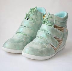 Модные демисезонные сникерсы, ботинки для девочек от 31р.-35р. JiLi. мята