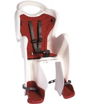 Сиденье задн. Bellelli MR FOX Сlamp (на багажник) до 22кг, белое с красной подкладкой