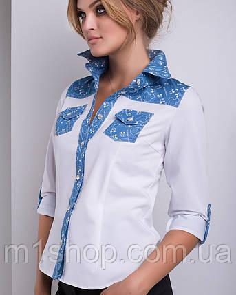 Комбинированная рубашка   Беллини lzn, фото 2