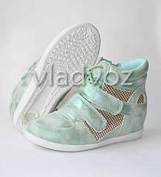 Демисезонные сникерсы, ботинки для девочки мята 31р. JiLi