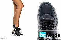 Удобные женские кроссовки Violeta AB Black с цветными и черными шнурками в комплекте черные с белым