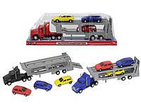 Автотранспортер с тремя машинками  32 см, 3 вида (374 6000)