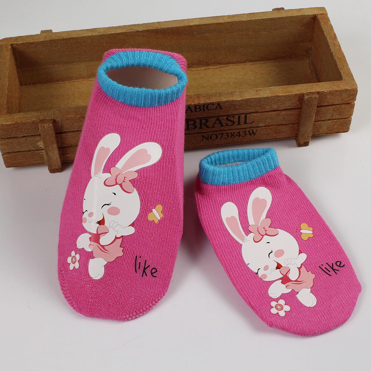 Носки с не скользящей подошвой розовые с зайкой