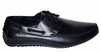 Туфли-мокасины на шнуровке мужские, натуральная черная кожа