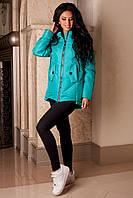 Куртка бирюзовая женская стеганная демисезонная В-959 Лаке Тон 2