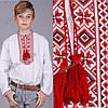 Детская вышиванка для мальчика крестиком Козак красно-черн. От 3 до 9 лет