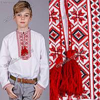 Детская вышиванка для мальчика крестиком Козак красно-черн. От 3 до 9 лет, фото 1