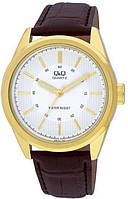 Часы Q&Q Q266J101Y оригинал классические наручные часы мужские позолоченные на кожаном ремешке