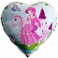 """Шар """"Принцесса на пони"""" надутый гелием 40 см"""