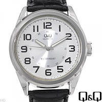 Часы Q&Q Q266J304Y оригинал классические наручные часы мужские на кожаном ремешке