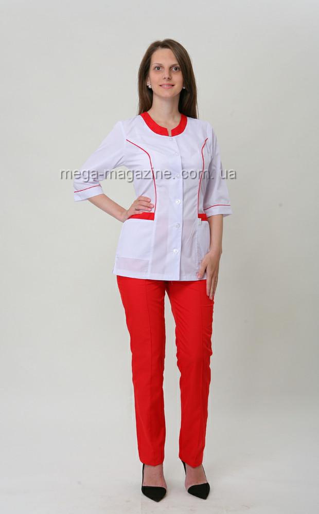 85c8dddcdcd Медицинский костюм женский комбинированный на пуговицах на спинке есть  завязки белая пиджак красные штаны.