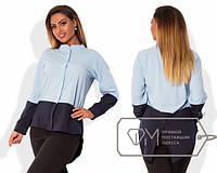 """Стильная блузка """"Два тона"""" удлиненная спинка для пышных форм"""