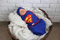 Евро пеленка кокон на липучке с шапочкой - Супермен