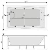 Ванна акриловая Pool Spa Fantasy 185x115 PWP1H10ZS000000 +рама, фото 3