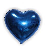 Фольгированное сердце без рисунка, синее