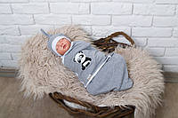 Евро пеленка кокон на молнии и шапочка - Панда