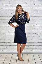 Женское платье на осень 0326 цвет синий до 74 размера / большие размеры, фото 2