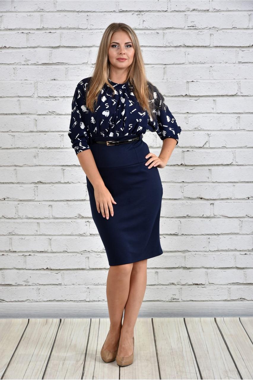 Женское платье на осень 0326 цвет синий до 74 размера / большие размеры