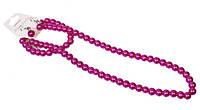 Набор украшений из розового жемчуга: бусы, браслет, серьги.