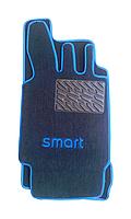 Текстильные коврики на SMART увеличенные синий рант