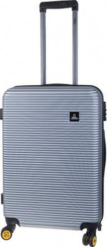 Прекрасный чемодан 4-х колесный пластиковый 37 л. ADVENTURE NATIONAL GEOGRAPHIC N078HA.49;23 серебристый