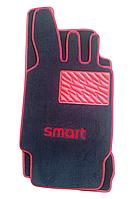 Текстильные коврики на SMART увеличенные красный рант