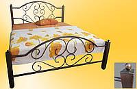 Кровать металлическая Валенсия полуторная 1200х1900/2000 мм, Черный (глянец, матовый)