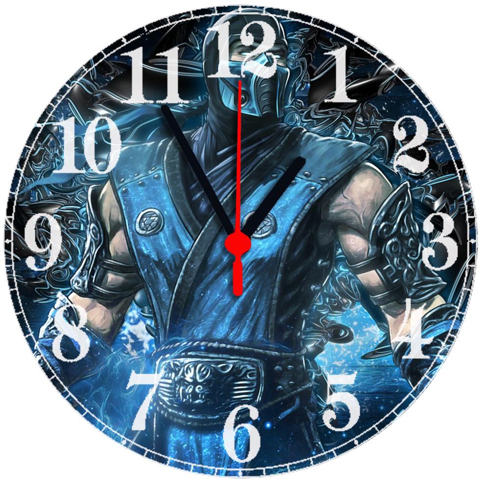 """Настінні годинники на склі """"Мортал Комбат"""" круглі"""