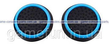 PS4 силіконові накладки на стіки dualshock 4 (Black-Light blue) (2шт)