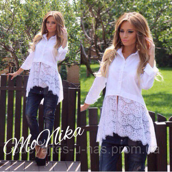 d5fb1d462a3 Женская рубашка удлиненная катон+ гипюр белая 1096 1 МТ - Одевайтесь у нас в