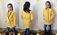 Модное желтое кашемировое пальто на змейке