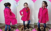 Модное малиновое кашемировое пальто на пуговицах