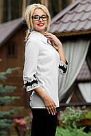 Стильная белая блуза, свободный широкий воротник, декор цветочным орнаментом РАЗНЫЕ ЦВЕТА!