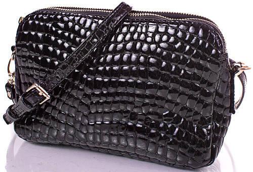 Женская блестящая кожаная сумка-клатч GALA GURIANOFF (ГАЛА ГУРЬЯНОВ) GG1283 черная