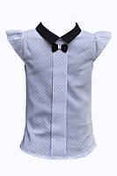Нарядная белая школьная блуза с коротким рукавом.Umbo(Польша).